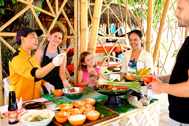 Having some family fun at a cooking class in Bali! Food was delicious!