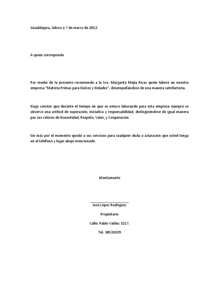 Imágenes de carta de recomendación laboral Imágenes