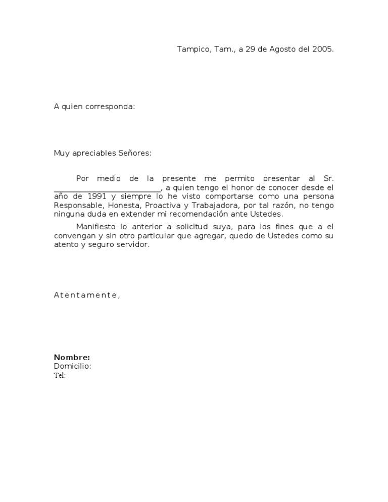 Imágenes de ejemplo de carta de recomendación personal Imágenes