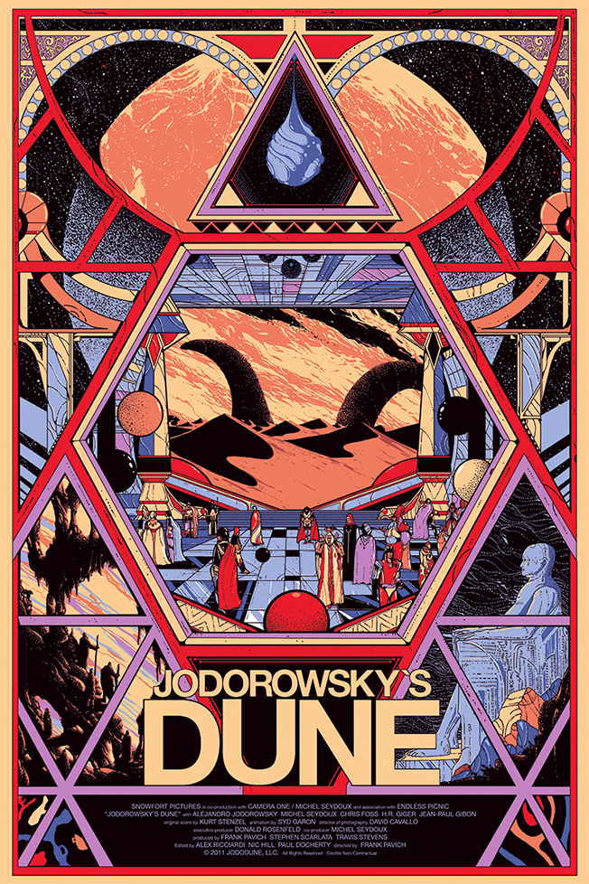 Poster de Kilian Eng.  Vários artistas gráficos criaram storyboards e desenharam figurinos para Duna. | Imagem: reprodução