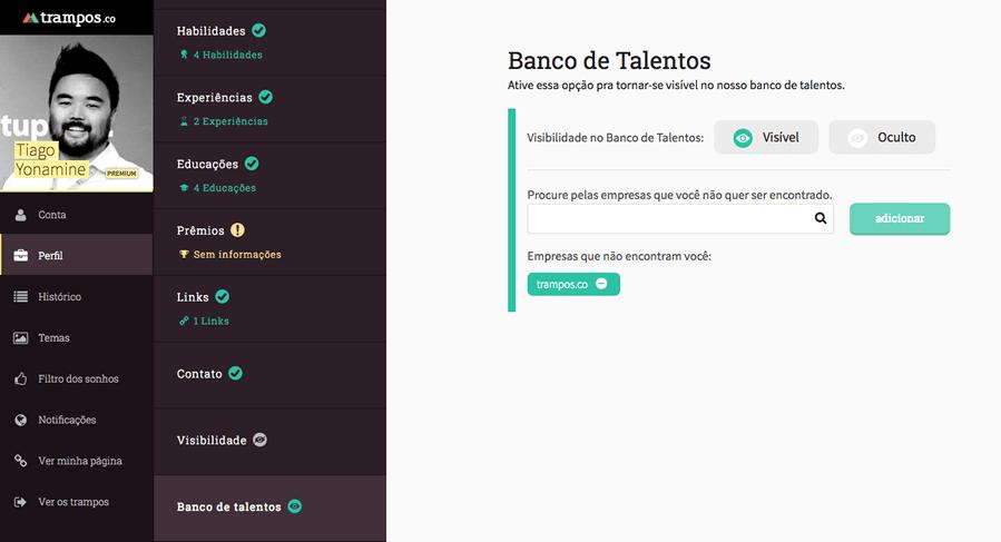 Candidato habilitar Banco de Talentos