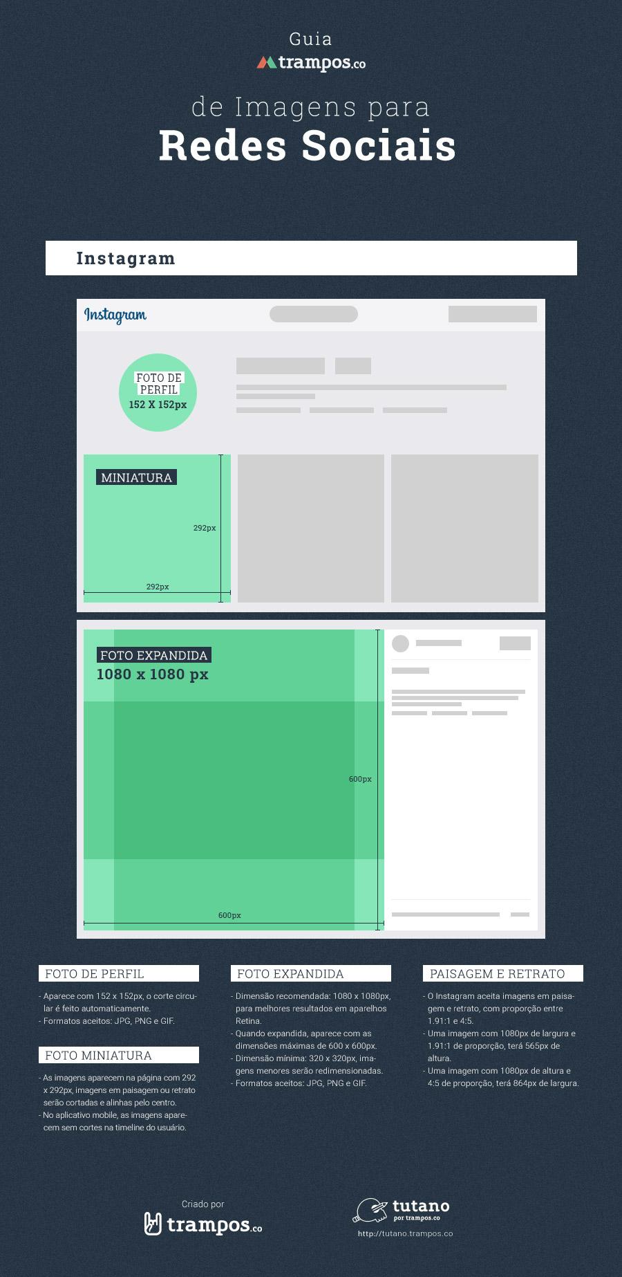 Guia trampos de tamanhos de imagens para mídias sociais: Instagram