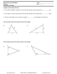 Worksheet: Triangle Inequality Theorem - Inequalities in ...