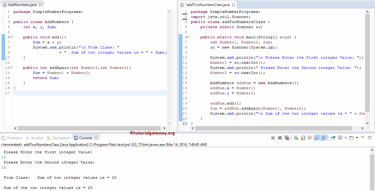 Out Java From Java Program To Add Two Numbers