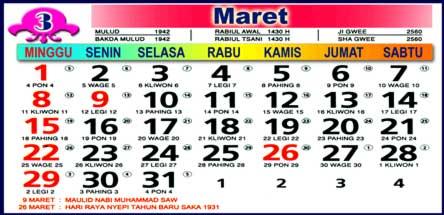 Kalender Maret 2009