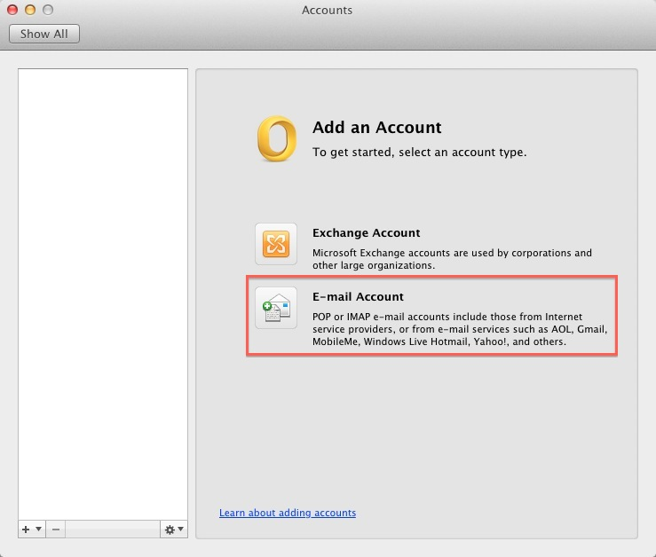 Email Application Setup - Outlook 2011 for macOS - create outlook account
