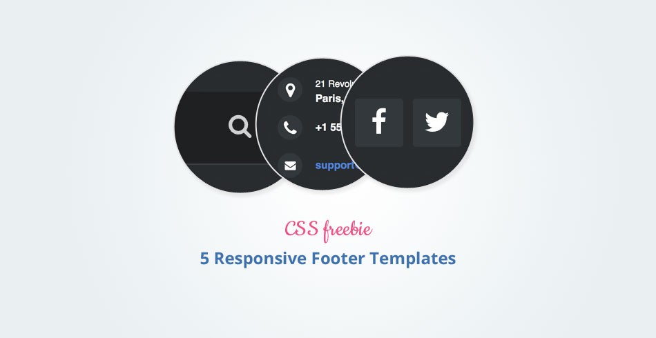 Freebie 5 Beautiful and Responsive Footer Templates - Tutorialzine