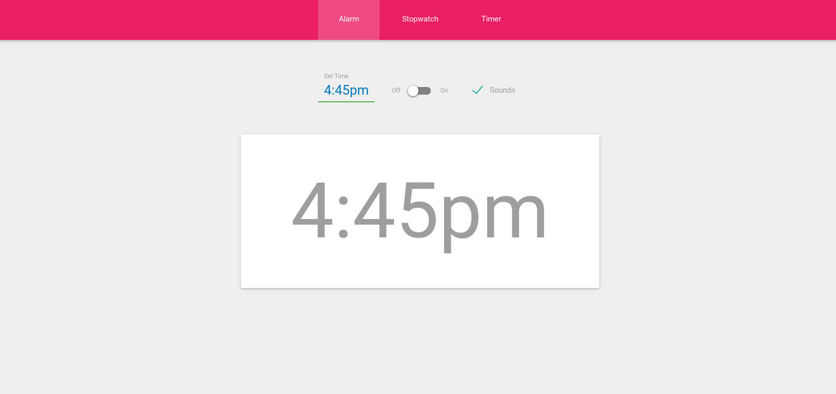 Alarm Timer Experiment Material Design Stopwatch Alarm And Timer Tutorialzine