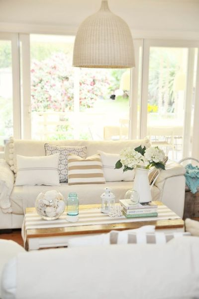 Neutral coastal decor in the living room