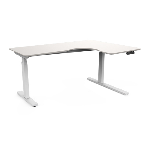 Series L Adjustable Height Single Desk Walnut 57 Dual Motor Ergonomic Height Adjustable Desk L Shape