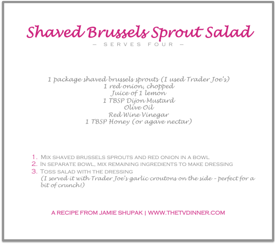 RECIPE brussels salad