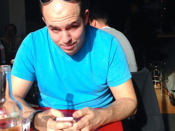 brian on phone, lunch