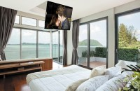 Ceiling Mounted TV In A Bedroom  TV Installation Katy