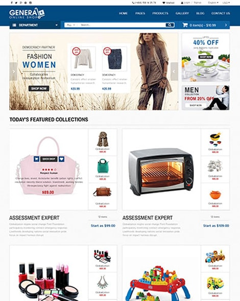 Dance General Market Store HTML Template with Bootstrap 3 and jQuery - market template