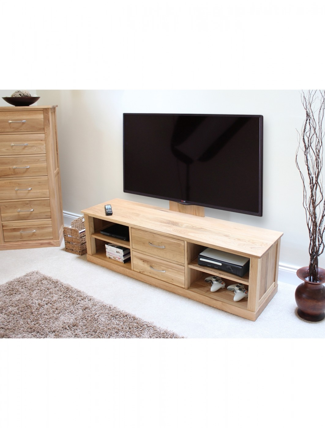 baumhaus mobel oak mounted widescreen tv cabinet cor09e