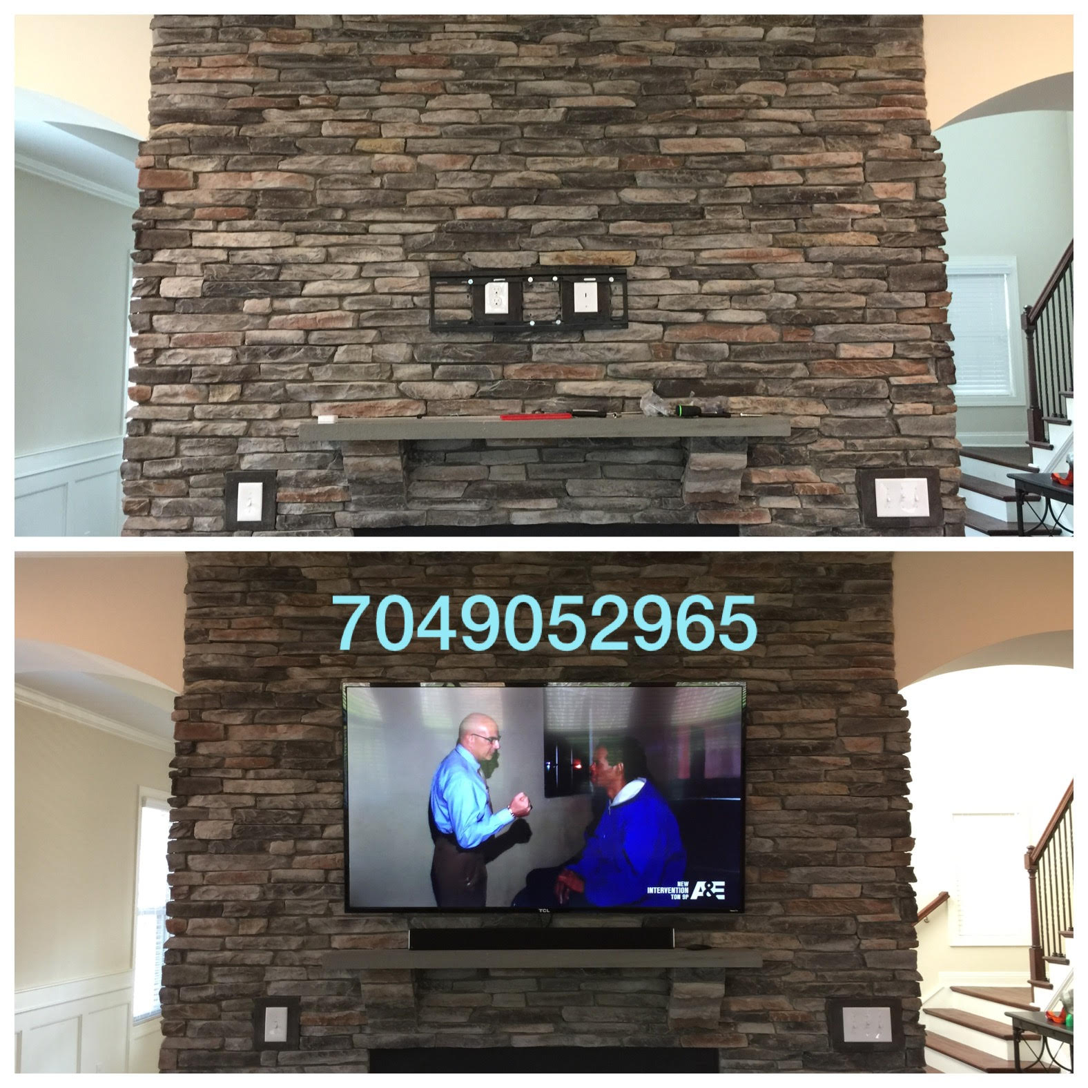 Fireplace Tv Mount Stone And Brick Fireplace Tv Mounting Service Charlotte