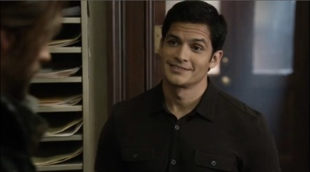 Luke Morales (Nick Gonzlez) smirks at Ichabod on Sleepy Hollow