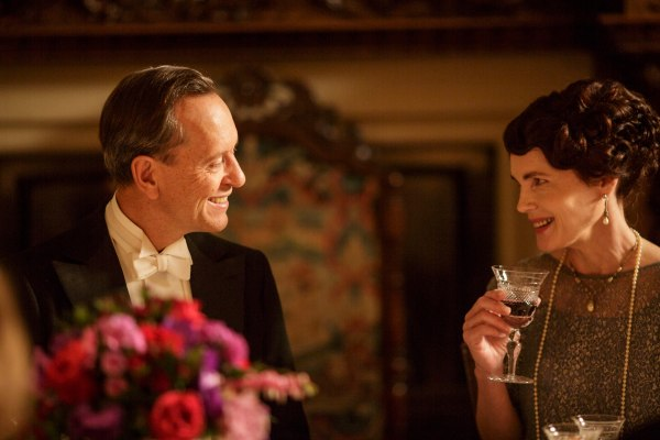 Cora flirts with Simon Bricker over dinner on Downton Abbey