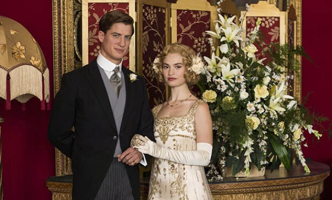 Downton Abbey's Lady Rose and Atticus on their wedding day.