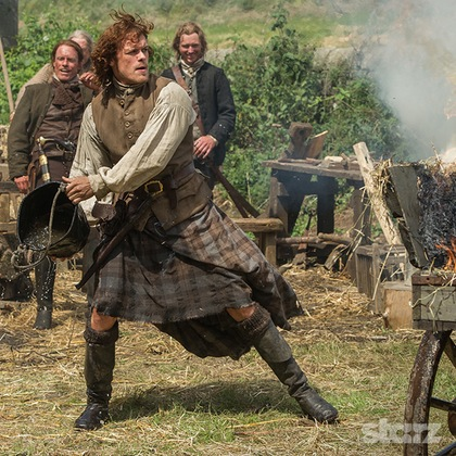 "Outlander's Jamie in ""The Watch."""