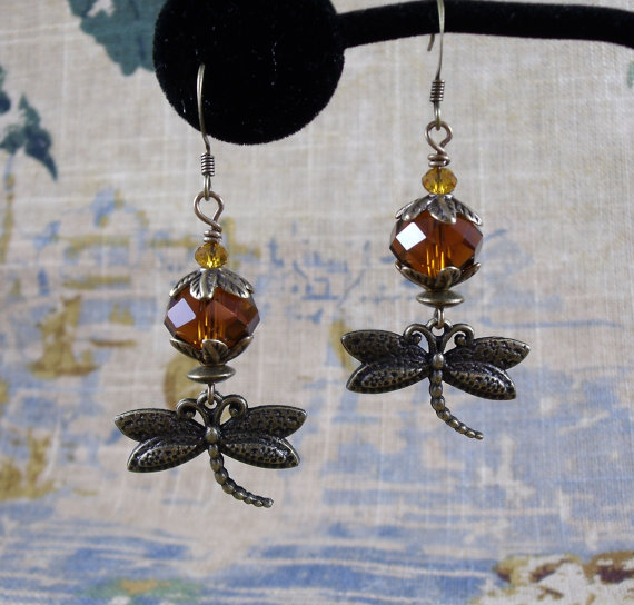 Dragonfly and amber earrings from KLFStudio