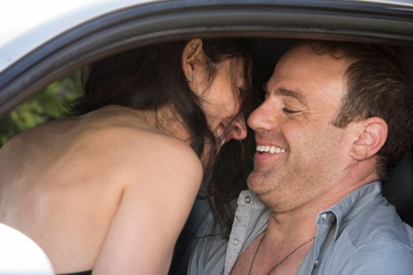 "GIRLFRIENDS' GUIDE TO DIVORCE -- ""Rule #58: Avoid The Douchemoblie"" Episode 201 -- Pictured: (l-r) Lisa Edelstein as Abby, Paul Adelstein as Jake -- (Photo by: Dean Buscher/Bravo)"