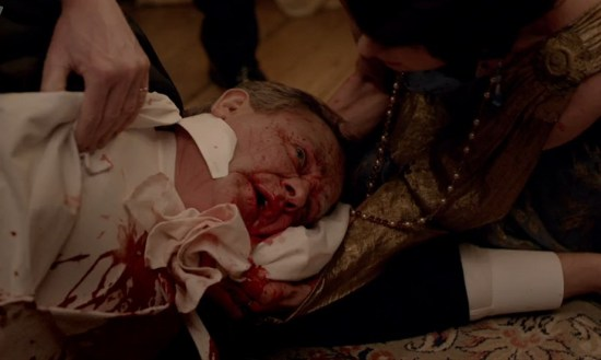 Lord Robert Grantham covered in blood on Downton Abbey
