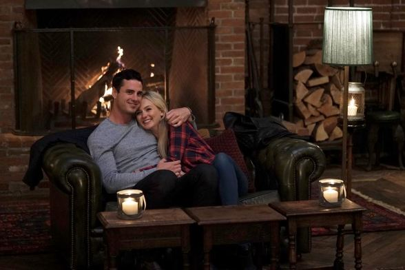 Lauren and Ben cuddle by the fire on The Bachelor