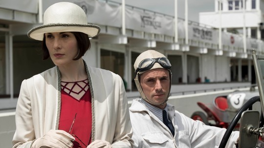ady Mary and Henry Talbot at race track on Downton Abbey