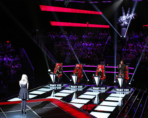 "THE VOICE -- ""Blind Auditions"" Episode 502 -- Pictured: (l-r) Holly Henry, Adam Levine, CeeLo Green, Christina Aguilera, Blake Shelton -- (Photo by: Trae Patton/NBC)"