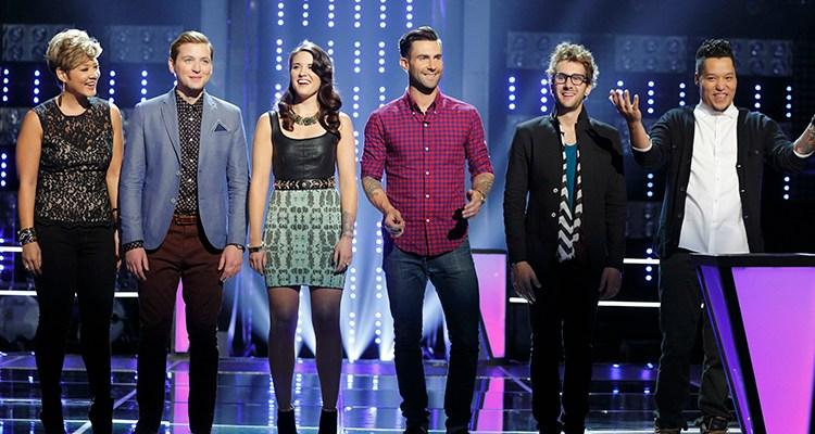 "THE VOICE -- ""Knockout Rounds"" Episode 512 -- Pictured:  (l-r) Tessanne Chin, James Wolpert, Grey Paluszynski, Adam Levine, Will Champlin, Preston Pohl -- (Photo by: Trae Patton/NBC)"
