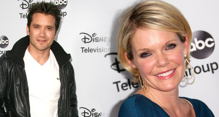 """""""General Hospital"""" stars Dominic Zamprogna (Dante) and Maura West (Ava) attend the  Disney ABC Television Group's 2014 winter TCA party. Photo credit Tommaso Boddi/Getty Images"""