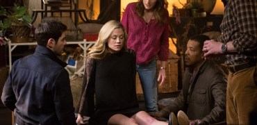 "GRIMM -- ""You Don't Know Jack"" Episode 420 -- Pictured: (l-r) David Giuntoli as Nick Burkhardt, Claire Coffee as Adalind Schade, Bree Turner as Rosalee Calvert, Russell Hornsby as Hank Griffin, Silas Weir Mitchell as Monroe -- (Photo by: Scott Green/NBC)"