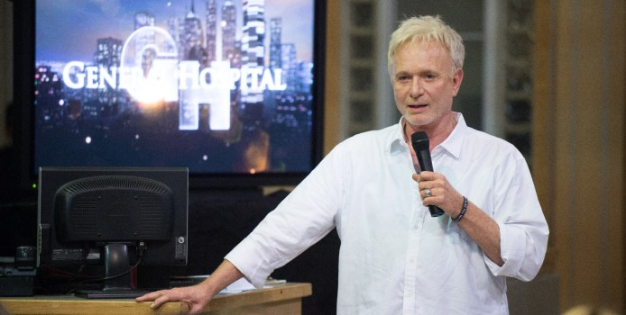 """GENERAL HOSPITAL - After originating the character of Lucas Lorenzo Spencer 37 years ago, acclaimed actor Anthony Geary says farewell to """"General Hospital,"""" MONDAY, JULY 27. Members of the """"General Hospital"""" cast and crew gathered on the """"GH"""" sound stage to celebrate and say farewell to Tony on his last tape date, on Tuesday, June 23. The Emmy-winning daytime drama """"General Hospital"""" airs Monday-Friday (3:00 p.m. - 4:00 p.m., ET) on the ABC Television Network.    GH15 (ABC/Todd Wawrychuk) ANTHONY GEARY, CREW"""