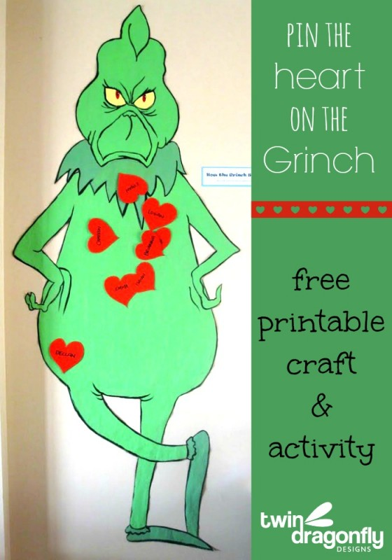 Pin the Heart on the Grinch Activity with free Printable » Dragonfly