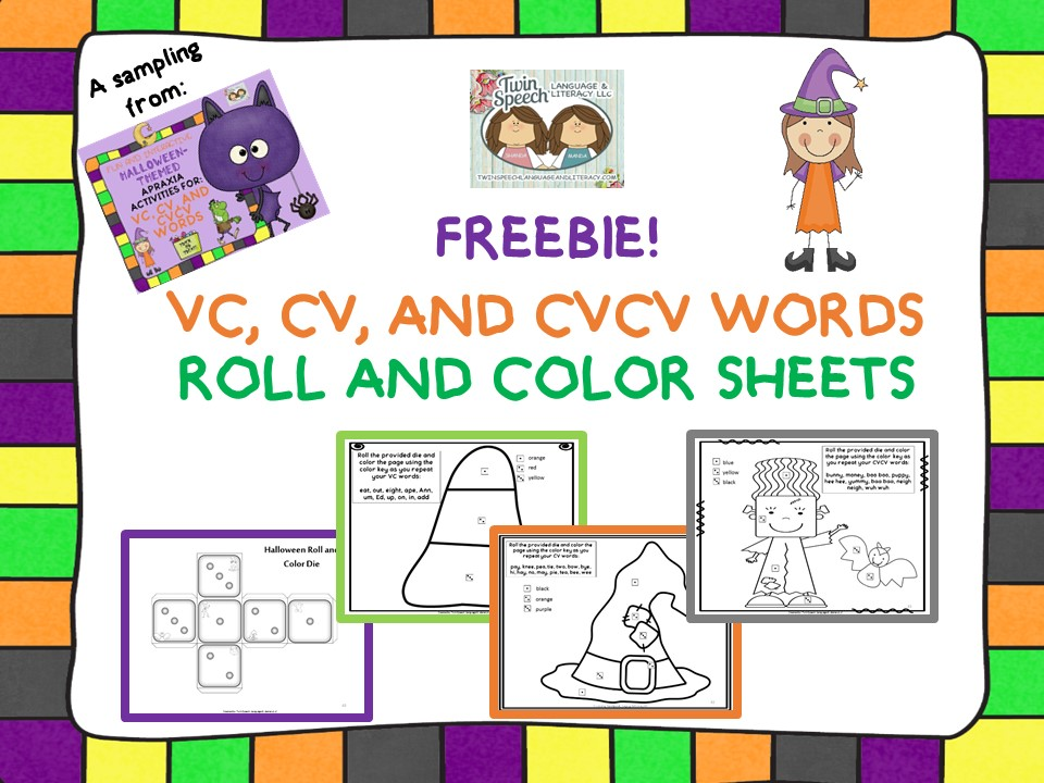 FREE Halloween Apraxia Roll  Say - Twin Speech Language and