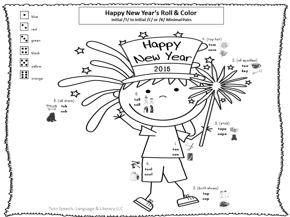 New Year's Minimal Pairs & Open-ended Worksheets Freebie