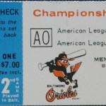 1970 Orioles ALCS ticket for game against the Twins.