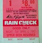 Opening Day ticket for April 6, 1982
