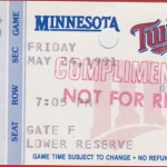 1991 Twins complimentary ticket. Click on the ticket to see the full image.