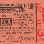 Rain check from July 3 game against the White Sox.