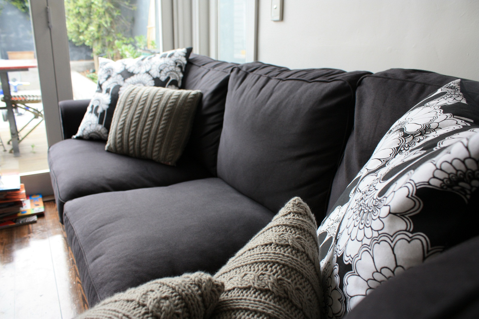 Gray And White Sofa Black And White Pillows