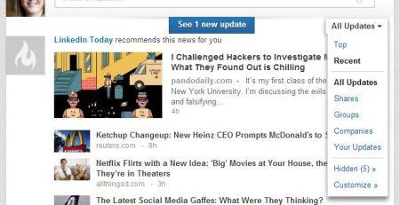 filtering options on LinkedIn