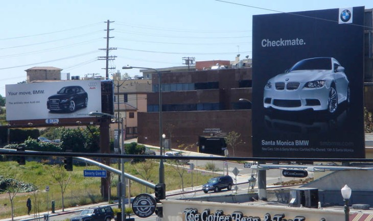 bmw audi billboard war in los angeles