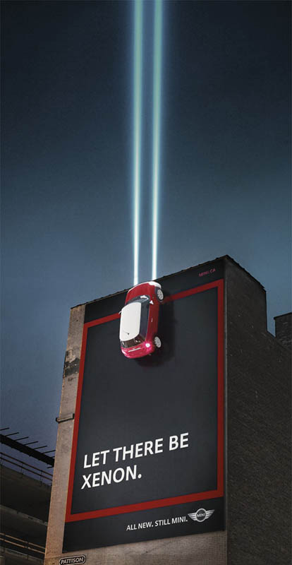 mini car billboard for xenon lights shining into sky
