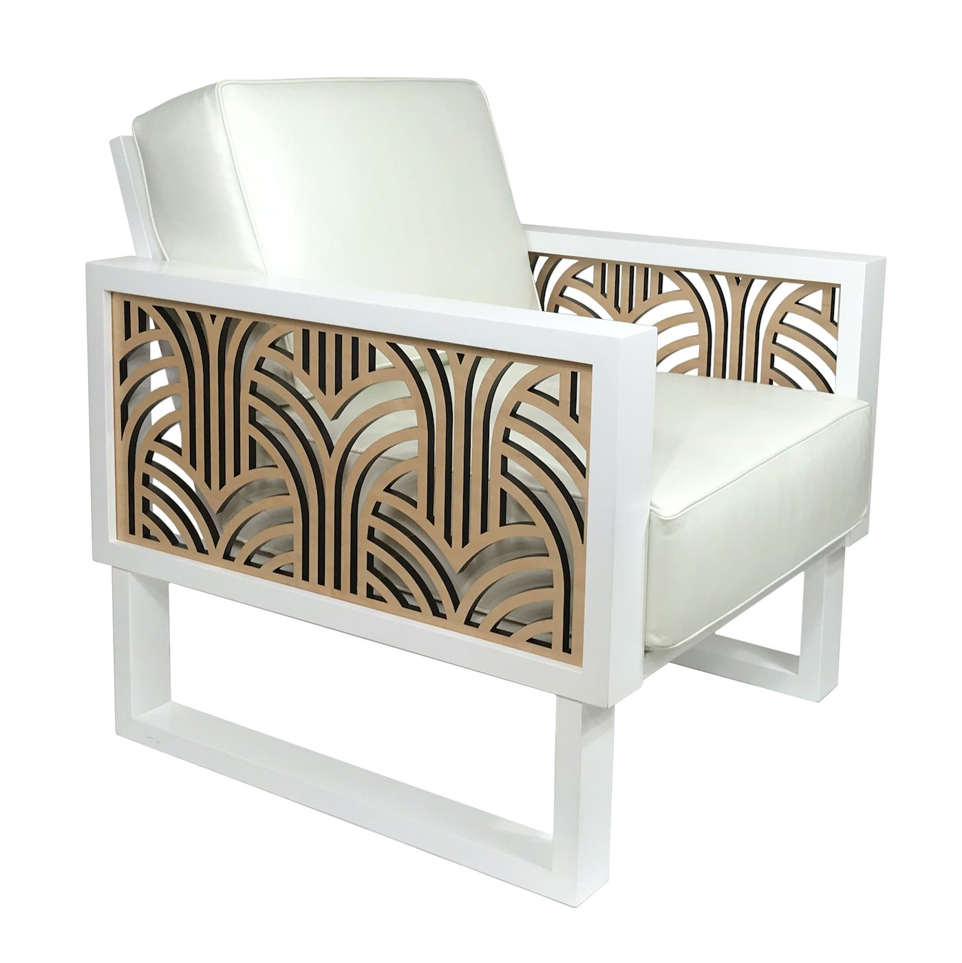 Leather Lounge Art Deco White Leather Lounge Chair