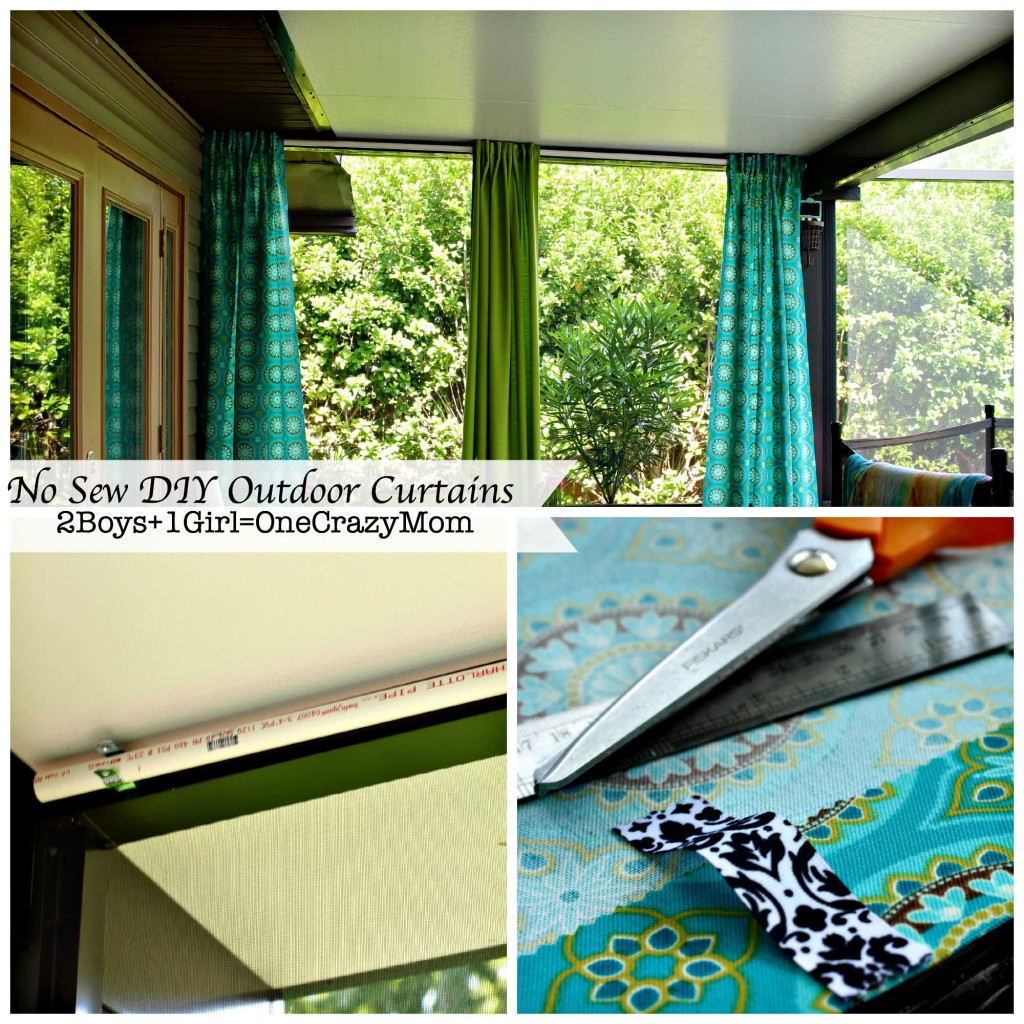 Make Your No Sew Diy Outdoor Curtains On A Budget 2 Boys 1 Girl One Crazy Mom