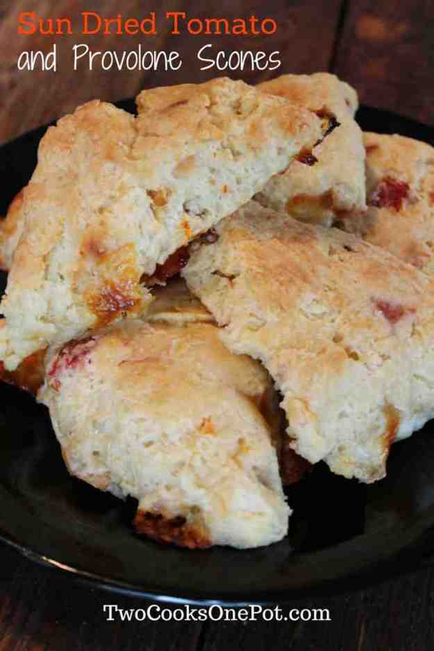 http://twocooksonepot.com Sun Dried Tomato and Provolone Scones