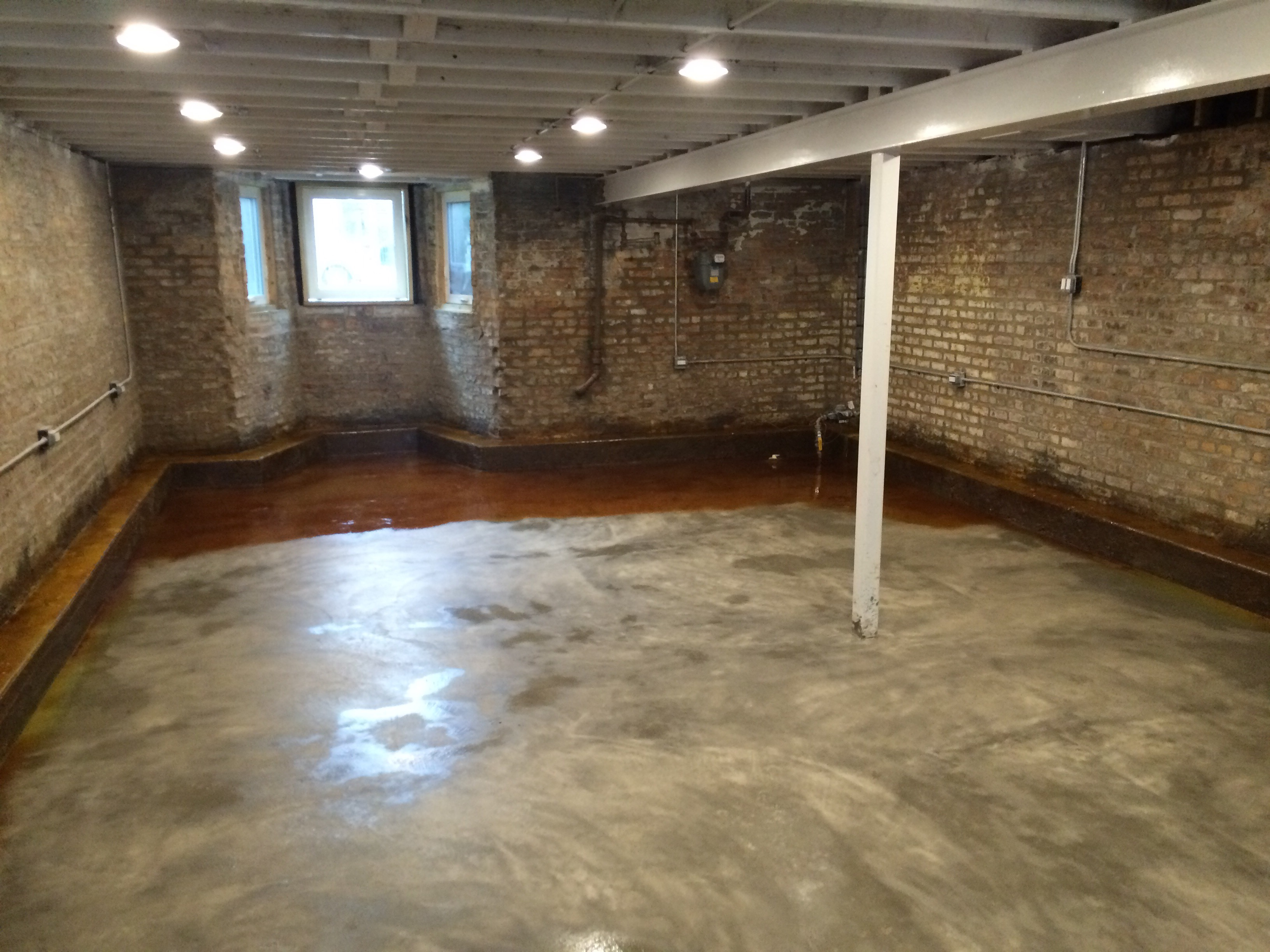 Basement floor acid staining two flat remade for How to clean concrete floors before staining