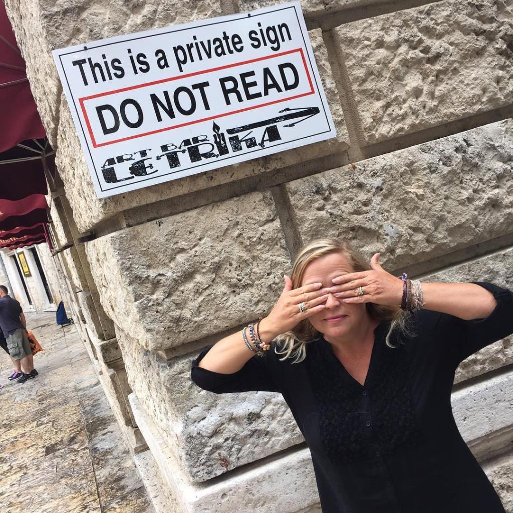 An interesting sign in Old Town Kotor in Montenegro travelhellip